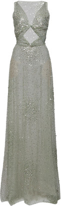 Valentino Cutout-Detailed Sequin-Embellished Tulle Gown