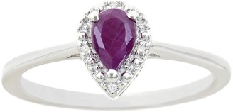 Sterling Silver Pear-Shaped Genuine Ruby Diamond Accent Frame Ring