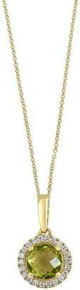 Effy 14K Yellow Gold Diamond & Peridot Necklace