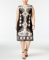 JM Collection Plus Size Printed Keyhole Shift Dress, Only at Macy's