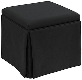 One Kings Lane Anne Skirted Storage Ottoman - Black