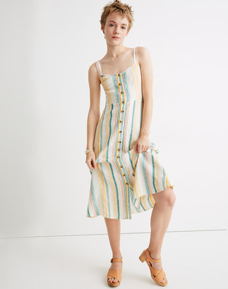 Madewell Linen Fitted-Bodice Midi Dress in Stripe