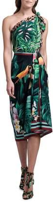 Dolce & Gabbana One-Shoulder Jungle Print Stretch Silk Dress