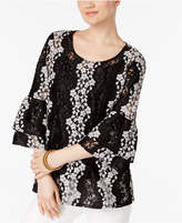 Alfani Bell-Sleeve Lace Blouse, Created for Macy's