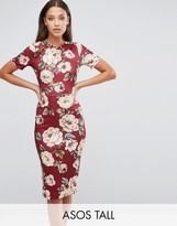 ASOS Tall ASOS TALL Oxblood Floral T-Shirt Scuba Bodycon Dress