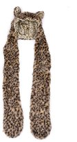 Aoloshow Faux Fur Animal Print Hoodie Scarf Gloves Pocket Hat Scarfs Winter Thick Leopard Brown