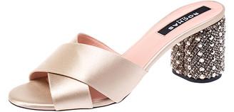Rochas Gold Criss Cross Satin Heel Embellished Sandals Size 40
