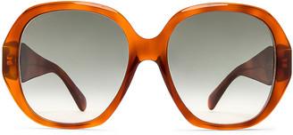 Gucci Oversize Octagonal Sunglasses in Havana | FWRD