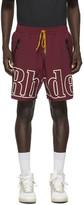 Rhude Burgundy Logo Swim Shorts