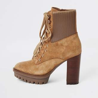 River Island Beige lace-up high heeled hiker boots