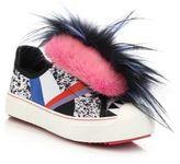 Fendi Flynn Mixed-Fur Mohawk & Leather Sneakers