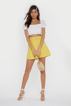 Nasty Gal Womens Not What You Skort Belted Shorts - yellow - S