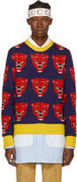 Gucci Navy and Red Jacquard Tiger Sweater