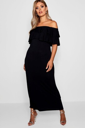 boohoo Plus Off The Shoulder Ruffle Maxi Dress