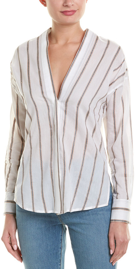Vince Striped Linen & Silk-Blend Shirt