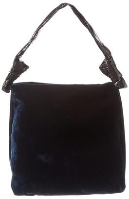 The Row Wander Small Velvet & Snake-Embossed Leather Shoulder Bag