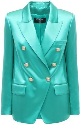 Balmain Double Breasted Silk Satin Jacket