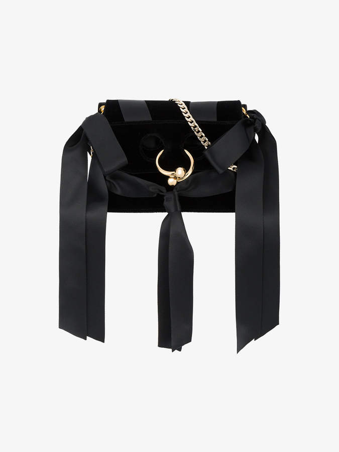 J.W.Anderson Black Bow Pierce Mini Velvet Cross Body bag
