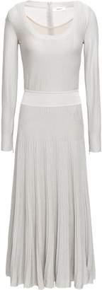 Casasola Pleated Metallic Ribbed-knit Midi Dress
