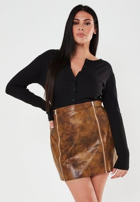 Missguided Plus Size Brown Faux Leather Croc Mini Skirt