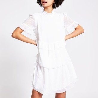 River Island Womens White textured ruffle tier mini smock dress