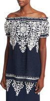 Naeem Khan Embroidered Off-the-Shoulder Top