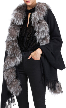 Gorski Cashmere Stole With Silver Fox Fur Ruffle