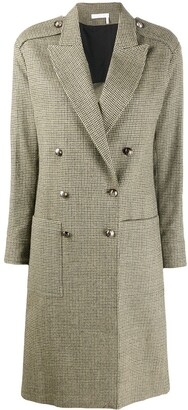 Chloé Houndstooth Pattern Double-Breasted Coat
