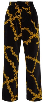 Aries Wide-leg Chain-print Velvet Trousers - Womens - Black Multi