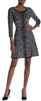 Nina Leonard Scoop Neck Snake Print Sweater Dress
