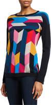 Neiman Marcus Cashmere Multicolor Crewneck Sweater
