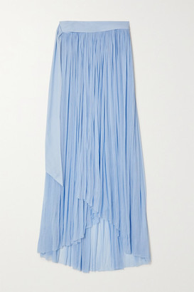ELENA MAKRI Delfis Draped Silk-tulle Skirt - Blue