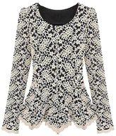 WINSON Plus Size Slim Stretchy Long Sleeve Tunic Lace Irregular Hem Tops Blouses Shirt
