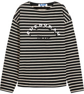 SteveJ & YoniP Steve J & Yoni P - Embroidered Striped Cotton-jersey Top - Black