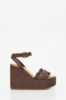 Casadei Wedge Sandals In Braided Leather