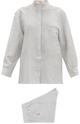 Lunya - Resort Linen-blend Pyjama Set - Blue Stripe