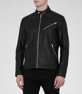 Reiss Joubert - Tab Collar Leather Jacket in Black, Mens
