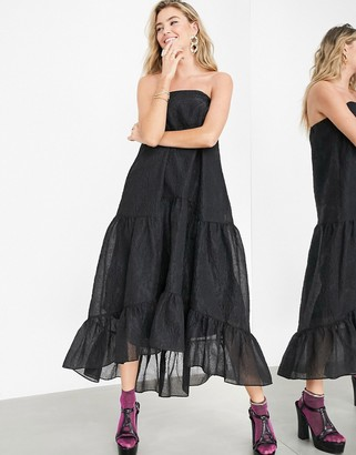 ASOS EDITION bandeau dress with high low hem in black