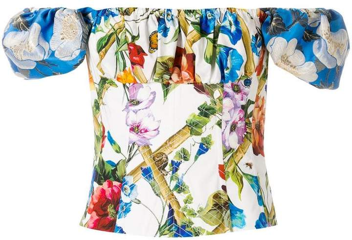 Dolce & Gabbana floral print corset off the shoulder top