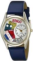 Whimsical Watches Bingo Royal Blue Leather and Goldtone Unisex Quartz Watch with White Dial Analogue Display and Multicolour Leather Strap C-0430002
