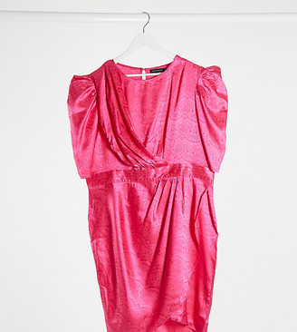 Pretty Darling Plus drape panel midi dress in fuschia