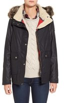 Barbour Women's 'Cravasse' Water Repellent Waxed Cotton Jacket With Faux Fur Trim