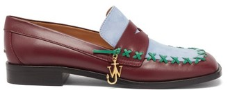 J.W.Anderson Bi-colour Square-toe Flat Leather Loafers - Brown Multi