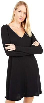 bobi Los Angeles Slubbed Jersey Long Sleeve V-Neck Dress (Black) Women's Dress