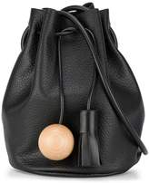 Building Block Black Sphere Tassel Leather bucket bag