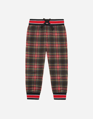 Dolce & Gabbana Jersey Jogging Pants With Tartan Print And Medal Patch