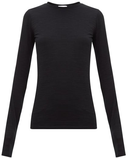 Raey Long Sleeved Slubby Cotton Jersey T Shirt - Womens - Black