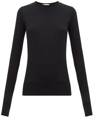Raey Long-sleeved Slubby Cotton-jersey T-shirt - Womens - Black