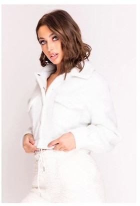 Hachu White Button Up Teddy Jacket