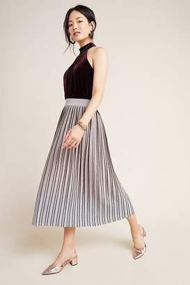 Maeve Pilar Pleated Metallic Midi Skirt
